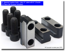 """6"""" Special Custom Nuts - Use 8"""" Jaws with 6"""" Chucks, Hardened and Ground (3 Piece Set Screws Included)"""