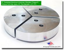 "8"" Oversized Aluminum American Standard Tongue & Groove Full Grip Jaws (10"" Pie Diameter, 2.0"" HT)"