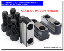 B-10 / N10 Jaw T-Nuts for CNC Chucks Hardened and Ground (3 Piece Set Screws Included)