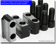 """15"""" B-15 / B-18 Jaw T-Nuts for CNC Chucks Hardened and Ground (3 Piece Set Screws Included)"""