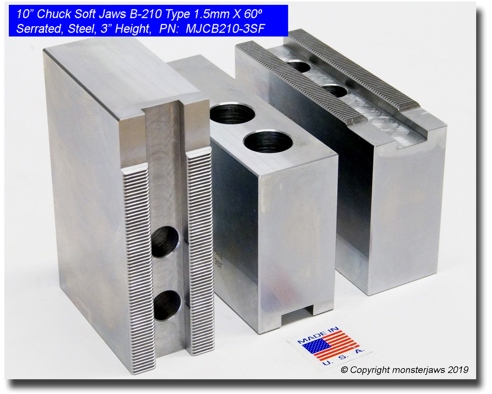 """10/"""" Aluminum Soft Jaws 1.5mm x 60° Serrated for B-210 Type Lathe Chuck 3.0/"""" HT"""