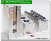 """15"""" Aluminum Jaws 1.5mm x 60° Serrated for B-215 Chucks (2.5"""" HT,  Groove Width)"""