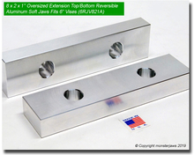 "8 x 2 x 1"" Oversized (Extension) Top/Bottom Reversible Aluminum Jaws for 6"" Vises"