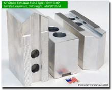 "12"" Aluminum Soft 1.5mm x 60° Serrated for B-212 Chucks (3"" HT, 0.827 Groove)"