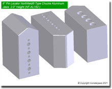 "6"" Pin Locator Northfield® Type Chucks Aluminum Jaws  2.0"" Height"