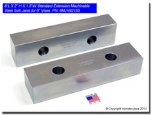 """8 x 2 x 1.5"""" Oversized (Extension) Steel Machinable Jaws for 6"""" Vises"""