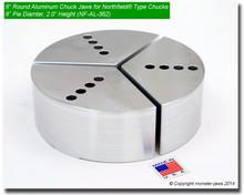 "6"" Full Grip Round Pin Locator Northfield® Type Chucks Aluminum Jaws  2.0"" Height"