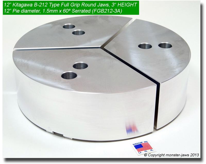 """8/"""" Full Grip Round Jaws Aluminum for B208 Lathe Chucks 1.5/"""" HT, 8/"""" Pie Diam."""
