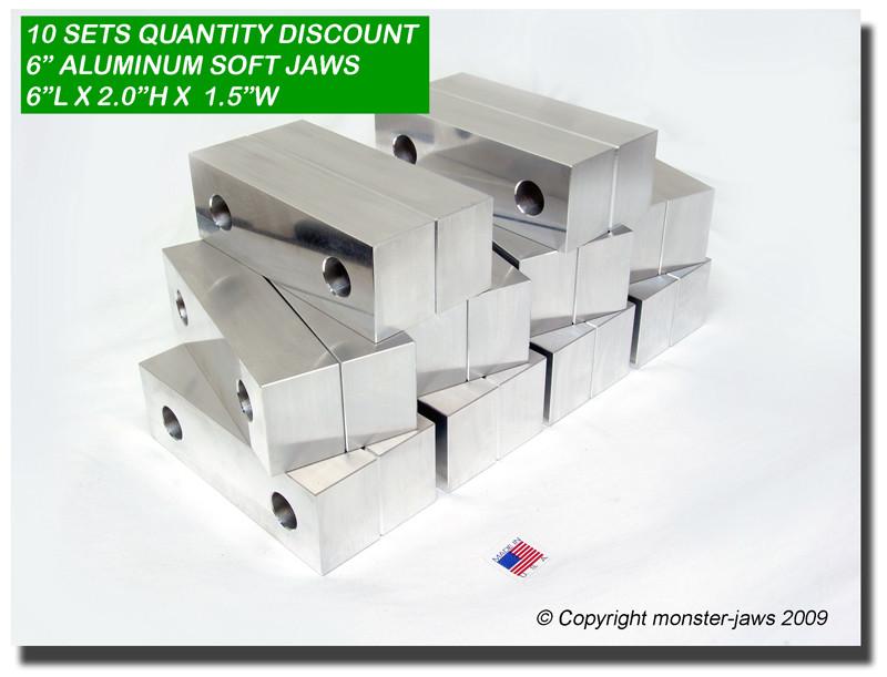 "6 x 2 x 1.5/"" Standard Aluminum Soft Jaws Set Fits Kurt 6/"" Vises USA 10 PACK"
