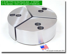 "6"" Aluminum Full Grip Round Jaws for B-206 Chucks (2"" HT, 6"" Pie diameter)"
