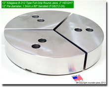 "12"" Aluminum Full Grip Round Jaws for B-212 Chucks (2"" HT, 12"" Pie diameter)"
