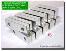 "10-Pack 6 x 2 x 1.25"" Aluminum Standard Vise Jaws Fits 6"" Vises"