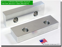 "6 x 2 x 1"" Oversized (Extension) Aluminum Soft Jaws for 5"" Vises"