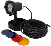 CALVERT | UNDERWATER FOUNTAIN LIGHT 12V, 20W HALOGEN 33 POWER CORD INCLUDES BLUE, GREEN RED, & AMBER LENS | L750