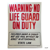 "BLUE DEVIL POOL ACCESSORIES | SIGN WARNING NO LIFEGUARD | POOL SIGN (18""X24"") 