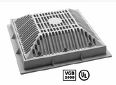 WATERWAY | 9 x 9 SQUARE FRAME AND GRATE, BLACK | 640-4791 V