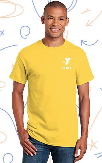 man wearing ymca staff t-shirt