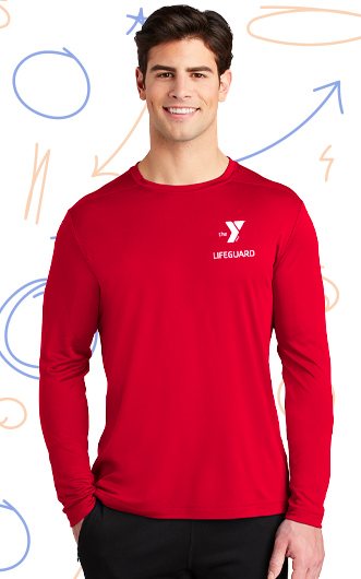 Man wearing red lifeguard shirt