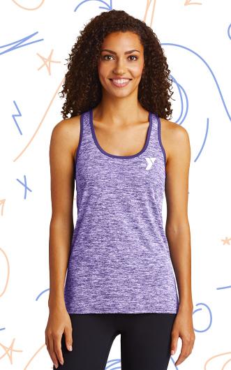 Woman wearing purple fitness tank top