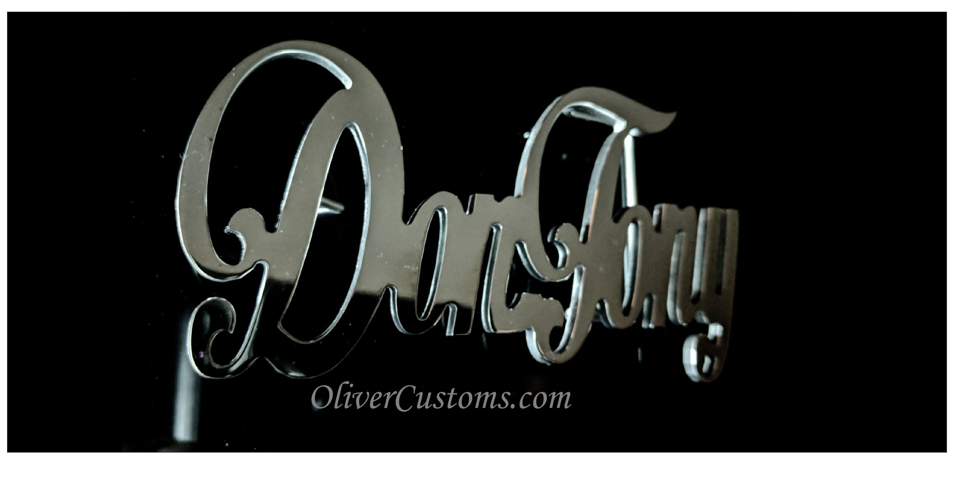 cursive name belt buckle
