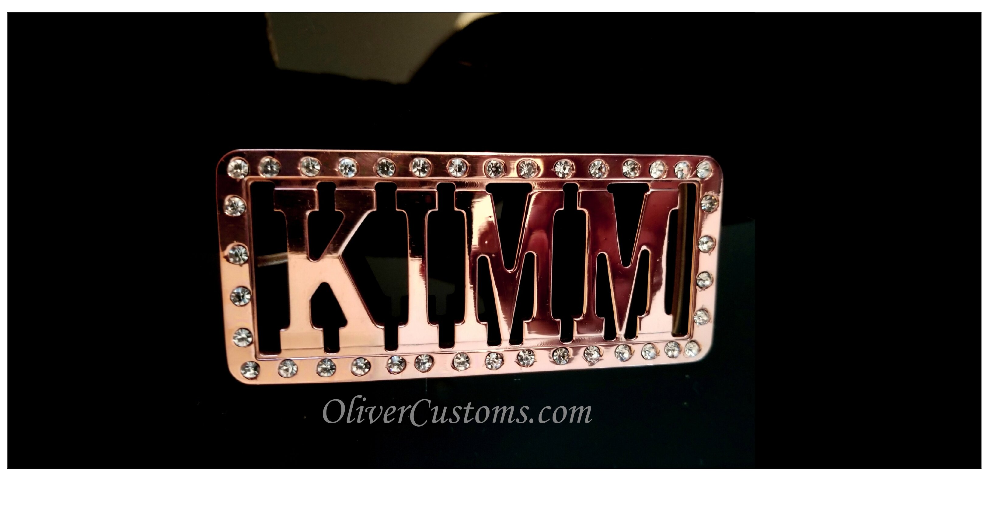rhinestone name belt buckle
