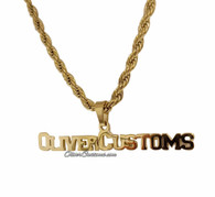 Name Plate Necklace with Free Rope Chain