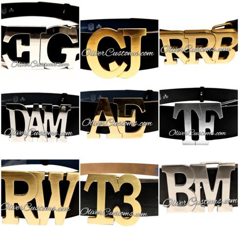 initial monogram belt buckle
