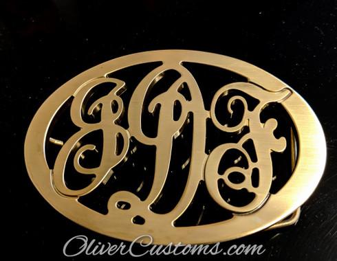 oval monogram initial belt buckle