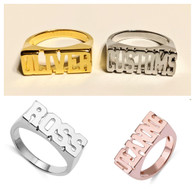 Personalized Name Block ring
