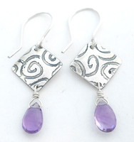 ON SALE AMETHYST TEARDROP PROTECT EARRING