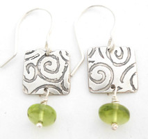 ON SALE PERIDOT BUTTON PROTECT EARRING