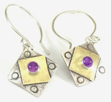 "A Square x2 with Amethyst Earring  with ""Protect this Woman"""