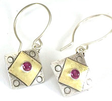 "A Square X2 with Garnet Earring  with ""Protect this Woman"""