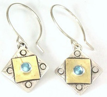 "A Square X2 with Blue Topaz Earring  with ""Protect this Woman"""