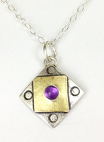 "Square X2 Amethyst Necklace with ""Protect this Woman"""