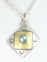"Square X2 Blue Topaz Necklace with ""Protect this Woman"""