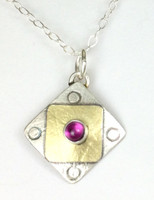 "Square X2 Rhodolite Garnet Necklace with ""Protect this Woman"""