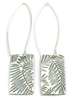 """This earring is made of sterling silver.  The pendent measures around 1/2"""" x 5/8"""".  It has a disk on the back with """"Protect this Woman"""" stamped it.  The ear wire is about 1 1/2"""" long.  It's design is inspired by palm leaves."""