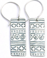 "Long Mud Cloth Earring with """"Protect this woman"""