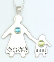 MAMA/GRANDMA AND CHILD (GIRL OR BOY) NECKLACE WITH STONES