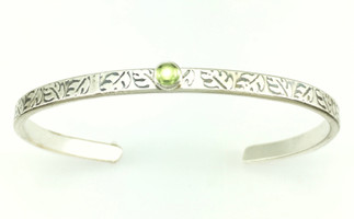 LEAFY SINGLE STONE MESSAGE BRACELET