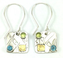 AMANDA PROTECT EARRING with BLUE TOPAZ AND PERIDOT