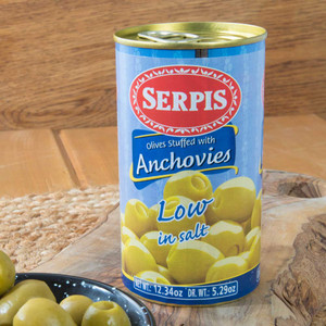 Low-Sodium Manzanilla olives stuffed with Anchovies by Serpis