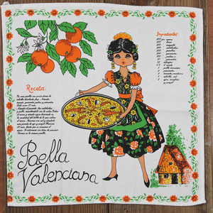 Paella Kitchen Cloth with recipe