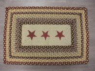 "20"" x 30"" Jute Braided Rug with Burgundy Painted Stars PP-357"