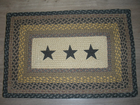 "20"" x 30"" Jute Braided Rug Black Stars PP-99"