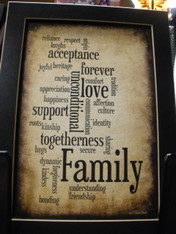 Family Print with Black Wood Frame