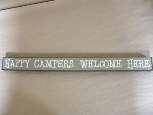 Happy Campers Welcome Here  Wood Sign. Made in USA.