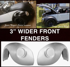 """F603W  1949-1977 VW Beetle NON-FLARED 3"""" Wider Than Stock Front Fenders, Indentions are for 12 Volt Headlight Size-PAIR 3"""" WIDER"""