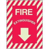 """Picture of a Photoluminescent self-adhesive fire extinguisher sign w/ striping, 9""""w x 12""""h vinyl."""